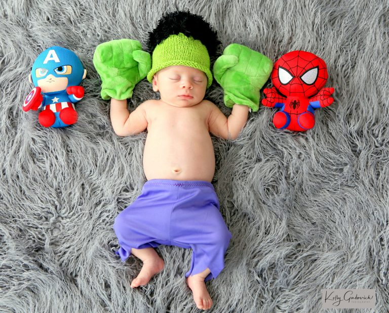 baby wearing hulk outfit